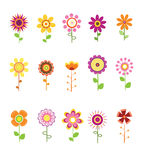 Retro Flower Set Stock Photography