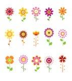 Retro Flower Set Stock Photography