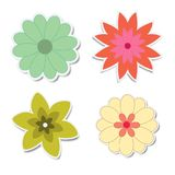 Retro flower stickers with shadows Royalty Free Stock Images