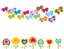 Retro flowers. Abstract stylized retro flowers with hearts shapes and butterflies Royalty Free Stock Image