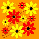 Retro Flowers. Vector illustration of a floral design in bright 1960s colors vector illustration