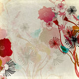 Retro flowers. Illustration of flowers on vintage paper Stock Images
