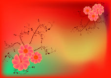 Retro flowers. Red background, spring time Stock Image