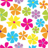 Retro flowers. Seamless retro styled flowers in bright colors Royalty Free Stock Photo