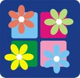 Retro Flowers. Colorful retro flowers on blue background royalty free illustration