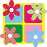 Retro flowers. Colorful retro flowers on yellow background royalty free illustration