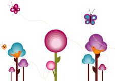 Retro Flowers. Retro Colorful Background with flowers, butterflys and birds Royalty Free Stock Image