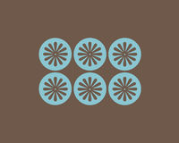 Retro flowers and circles background. Retro brown flowers and turquoise circles background stock illustration