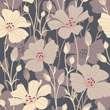 Retro flowers. On a dark background in seamless pattern Stock Photos