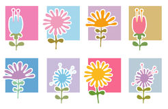 Retro Flowers Icons Royalty Free Stock Images