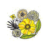 Retro flowers  illustration. Template for prints, textile and decoration, wallpaper Stock Photography