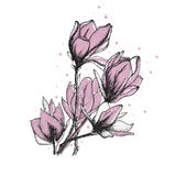Retro flowers  illustration. Template for prints, textile and decoration, wallpaper Stock Images