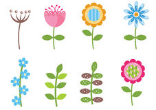Retro flowers isolated Royalty Free Stock Image