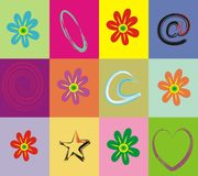 Retro flowers patchwork. Colorful patcwork and flowers background vector illustration