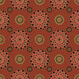 Retro flowers pattern brown abstract background Royalty Free Stock Photo