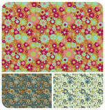 Retro Flowers - set of 3. Seamless Retro Flowers Pattern / wallpaper in 3 colour schemes Stock Photography