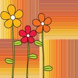 Retro flowers on stripes background Stock Photography