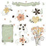 Retro flowers in vector. Cute floral bouquets. Royalty Free Stock Photos