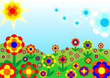 Retro flowery Landscape. Funny landscape with flowers from the 60th. Available as vector too Stock Images