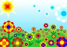 Retro flowery Landscape Stock Images