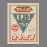 Retro flyer or template for help center. 24X7 hours open, retro Help Center flyer or template design with free home delivery offer for you Stock Photo