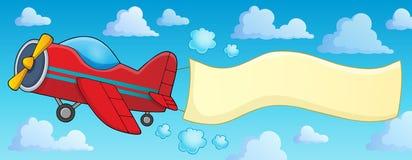 Retro flygplan med banertema 3 Arkivfoto