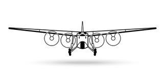 Retro flygplanlogo för tappning Vektorflygillustration i ren enkel stil för affischen, kortet, symbolen etc. Fotografering för Bildbyråer