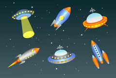Retro flying saucers and spaceships. Vector flying saucers and spaceships Royalty Free Stock Photo