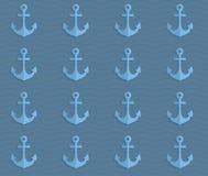 Retro fold blue anchors on waves Stock Photo