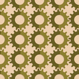 Retro fold green gears. Vintage colored simple seamless pattern. Background with paper fold and 3d realistic shadow.Retro fold green gears Royalty Free Stock Image
