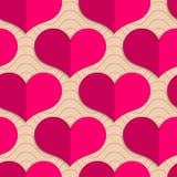 Retro fold pink hearts on waves Royalty Free Stock Photos
