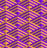 Retro fold purple and orange striped diamonds Stock Photography