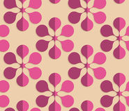 Retro fold purple six pedal flowers. Vintage colored simple seamless pattern. Background with paper fold and 3d realistic shadow.Retro fold purple six pedal stock illustration