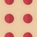 Retro fold red circles on stripes. Vintage colored simple seamless pattern. Background with paper fold and 3d realistic shadow.Retro fold red circles on stripes Royalty Free Stock Photos