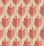 Retro fold red strawberry on diamonds Stock Photography
