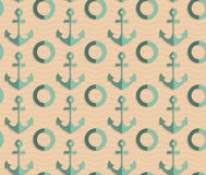 Retro fold sea green anchors Stock Photos