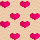 Retro fold small pink hearts on waves Stock Photo