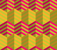 Retro fold striped hexagons touching Royalty Free Stock Photos