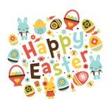 Retro Folk Art Happy Easter Phrase Stock Photography