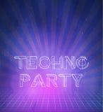 1980 retro fondi della discoteca 80s del manifesto techno al neon fatti in Tron illustrazione di stock