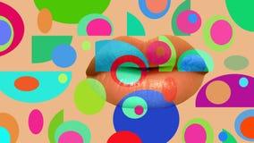 Retro fondo colorato, labbra Fotografie Stock