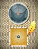 Retro fondo con gli orologi e la piuma. Immagini Stock Libere da Diritti
