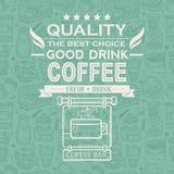 Retro fondo d'annata del caffè con tipografia Fotografia Stock