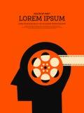Retro fondo d'annata del manifesto del film e di film illustrazione di stock
