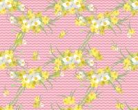 Retro fondo d'annata del narciso floreale Immagini Stock Libere da Diritti
