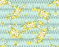 Retro fondo d'annata del narciso floreale Immagini Stock