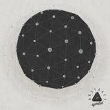 Retro fondo d'annata dell'icosaedro di stile. Fotografia Stock Libera da Diritti