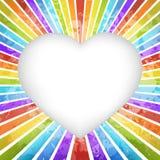 Retro fondo del cuore dell'arcobaleno Fotografia Stock Libera da Diritti