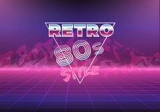 Retro fondo del neon di anni '80 80s Immagini Stock Libere da Diritti