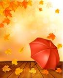 Retro fondo di autunno con le foglie variopinte Immagini Stock